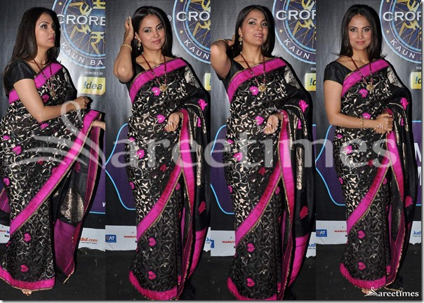 Lara_Dutta_Black_Saree