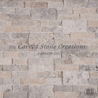 Silver Travertine Splitface Wall Stone Ledger Panels, 24in x 6in