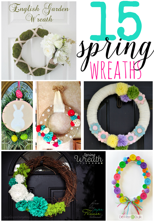 15 Spring Wreaths at GingerSnapCrafts.com #linkparty #features #wreaths