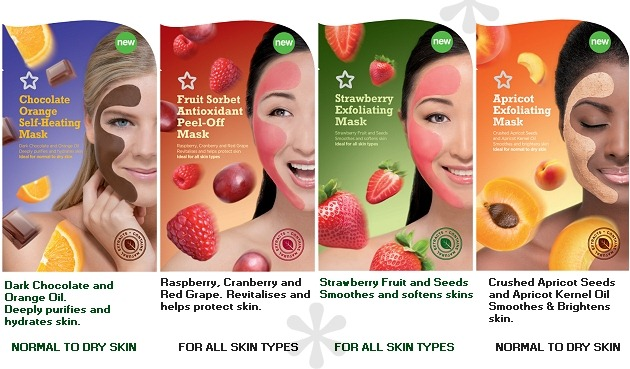 001-superdrug-face-masks-july-2012-chocolate-orange-self-heating-fruit-sorbet-antioxidant-strawberry-exfoliating-apricot