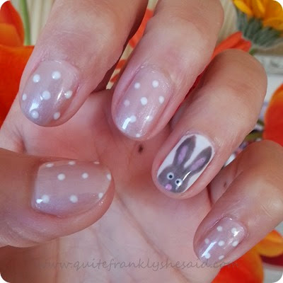 Easter bunny polka dot nails