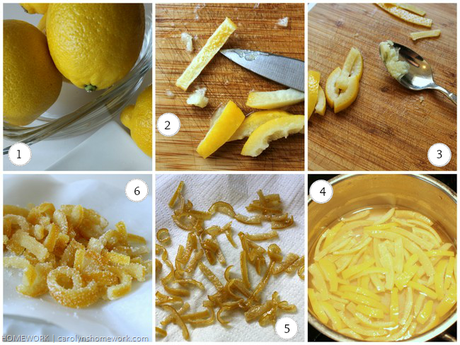 Candied Citrus Lemon Peel via homework | carolynshomework.com