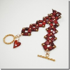 Red Czech Tile bracelet