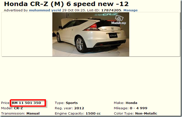 Honda CR-Z  M  6 speed new - Cars for sale Selangor - Mudah.my-132631