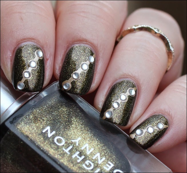 Autumn Nail Art Herbst Nageldesign Gold Bling 10