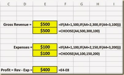 Scenario Analysis in Excel - Option Button Scenario 1 Closeup