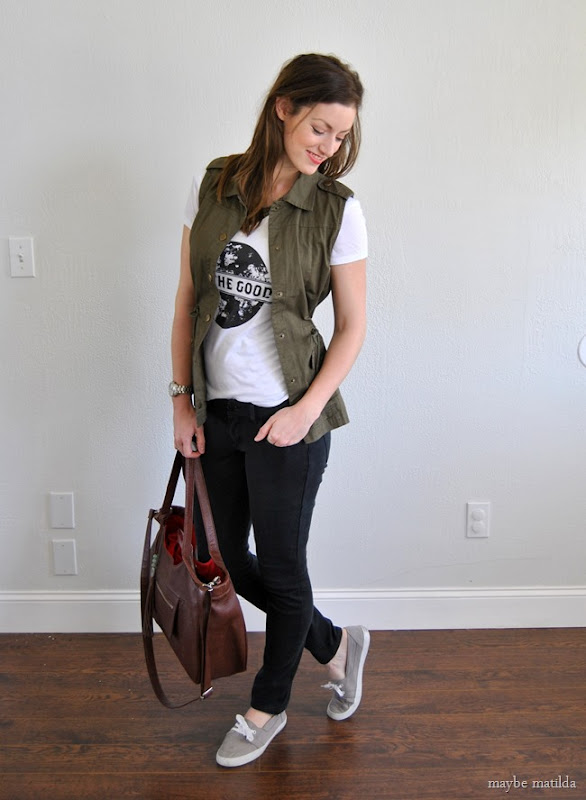 graphic tee + black skinnies + military vest // www.maybematilda.com