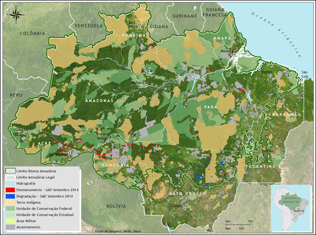 Satellite data show 402 square miles of deforestation in the Amazon rainforest in September 2014. This represents an increase of 290% compared to September 2013 when deforestation totaled 103 square kilometers. It was possible to monitor 93% of forest area in Legal Amazon while in September 2013 monitoring covered a smaller area (79%) of the territory. In September 2014, deforestation concentrated in Rondônia (33 percent), Pará (23%), followed by Mato Grosso (18%) and Amazonas (12%), with minor occurrence in Acre (10%) and Roraima (4%) and Tocantins (1 percent). Degraded forests in Legal Amazon totaled 624 square kilometers in September 2014. Compared to September 2013 there has been an increase of 3,797%, when the forest degradation totaled 16 square kilometers. Graphic: Imazon