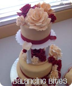 Red and Ivory Cascading Rose Wedding Cake 2