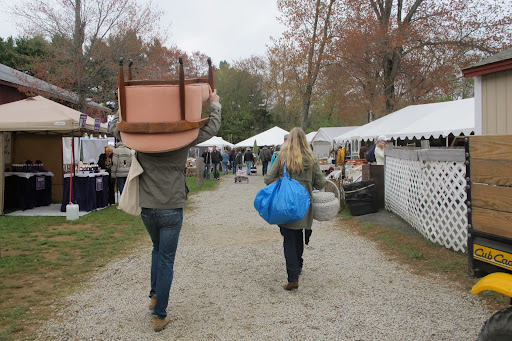 Scott and Decorating Editor Rebecca with just some of their Brimfield buys.