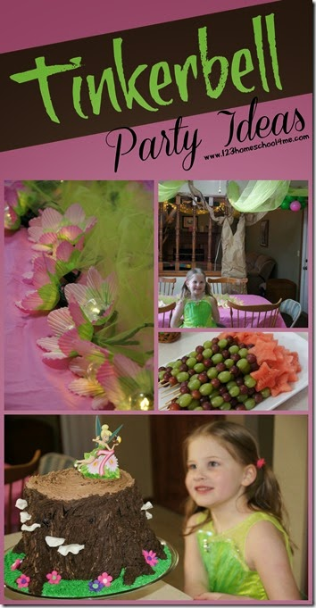 Tinkerbell Birthday Party Ideas - Super clever ideas for decorating for a Tinkerbell birthday party, food to eat, pixie hollow cake, and lots of fun game ideas!