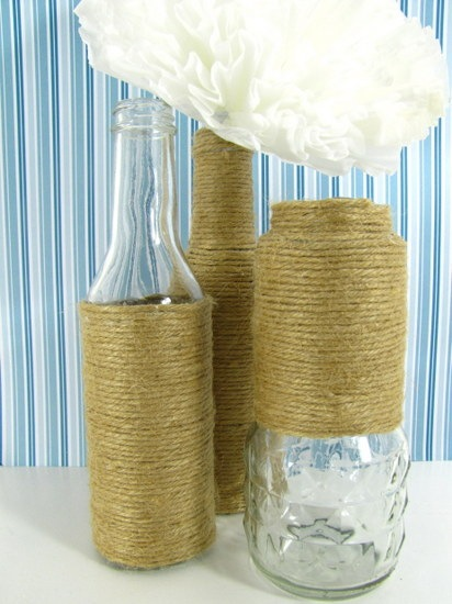 recycled bottles wrapped with jute craft