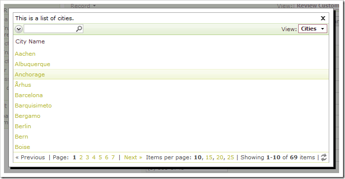 Clicking on the City lookup link will activate a modal window displaying a list of cities.