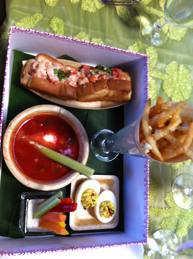 Part of our meal at the The Breakers' Circle Ballroom: fries, a lobster roll, gazpacho, and deviled eggs. What a fun idea for a bridal shower!