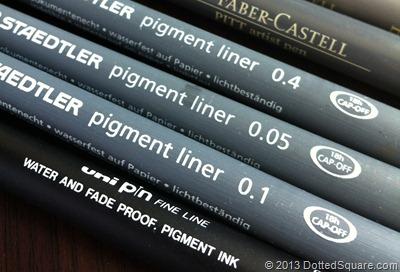 Black pigment ink pens