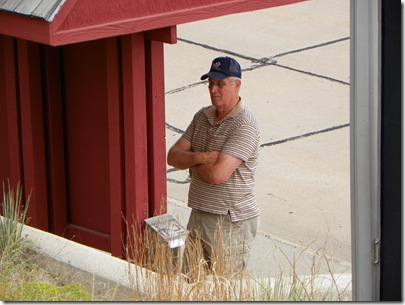 Don, waiting for me and reading the history of Boot Hill