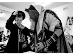 Dov-Ber Barber is comforted by his grandfather before performing has Barmizvah at Yeshiva synagogue in Bondi.<em> © Michael Amendolia</em>
