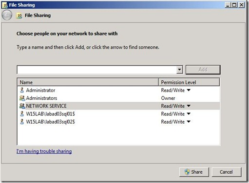 Lync 2013 - SQL Mir - file share perms