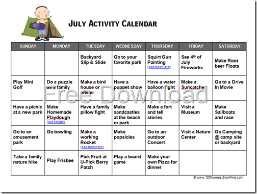 FREE Printable July Summer Activity calendar for Kids