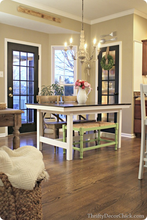 bench at kitchen table. HomeGoods quality from Thrifty Decor Chick