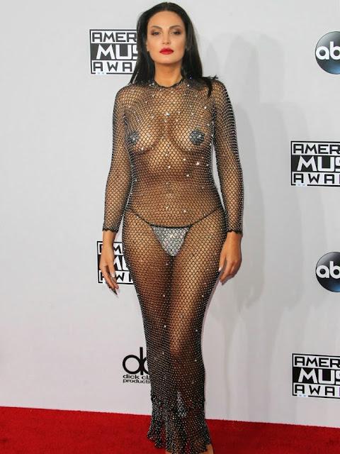 Belona Qereti shamelss Walks Nude at MTV Music Awards in Sheer Fishnet exposing full body nude Boobs Pussy ass WOW