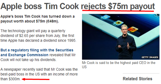 BBC News   Apple boss Tim Cook rejects  75m payout