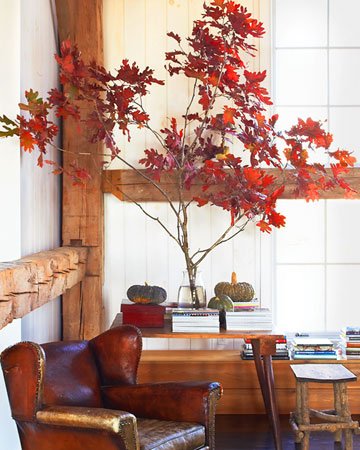 Fall: One temporary way to bring autumn indoors is to create a natural display, such as a blazing tree branch and greenish gourds.