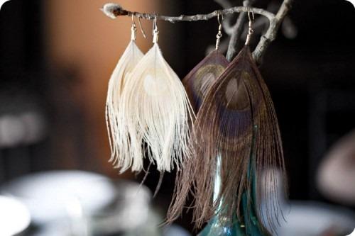 DIY Peacock Feather Earrings
