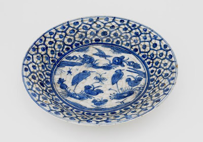 Plate | Origin:  Iran | Period: 17th century  Safavid period | Details:  Not Available | Type: Stone-paste painted under glaze | Size: W: 15.6  cm | Museum Code: S1997.63 | Photograph and description taken from Freer and the Sackler (Smithsonian) Museums.