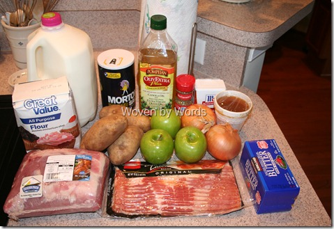 Farmhouse Pork and Apple Pie ingredients