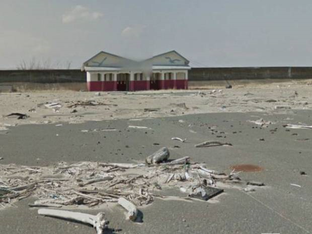 Google Streetview image showing the abandoned city of Namie in Fukushima Prefecture, March 2013. Photo: Google