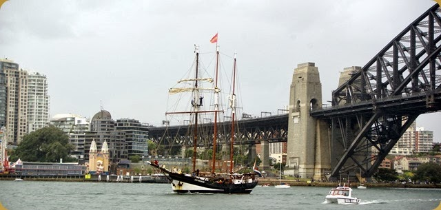 IFR - Tall Ships entering Sydney Harbour - Bridge and Luna Park in background