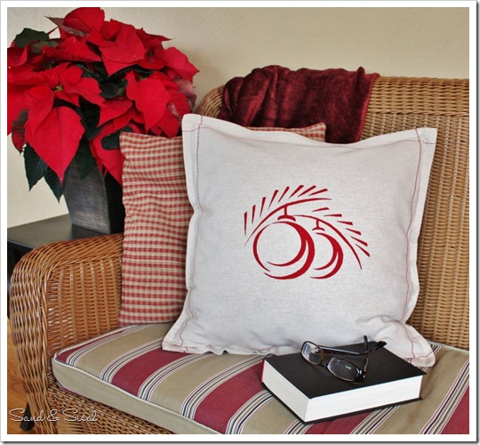 Silk Screened Holiday Pillow Cover