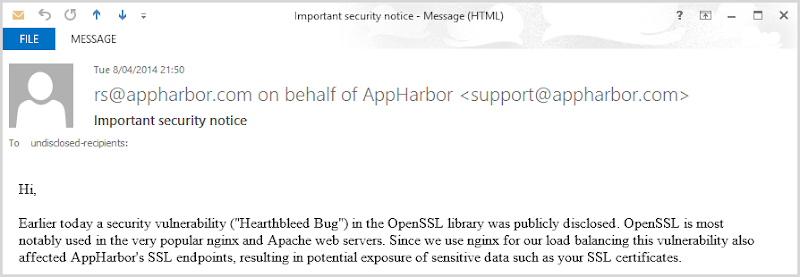 AppHarbor notice about Heartbleed