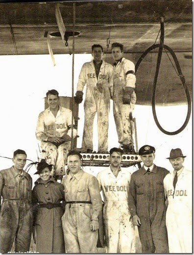 Mechanics loading oil drums at Lakehurst 1936