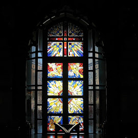 Colours of Rememberance by Ian McAdie - Buildings & Architecture Places of Worship ( religion, colour, prayer, building, chruch, window, color, glass, door, architecture, worship, cross )