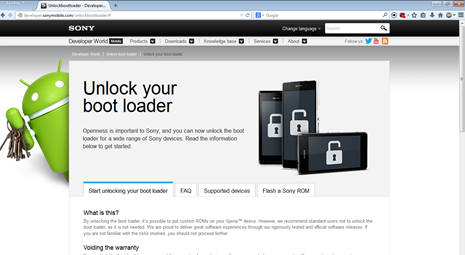 official website Sony Unlock Bootloader
