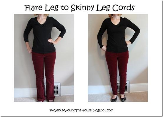 flare leg to skinny leg maroon cords