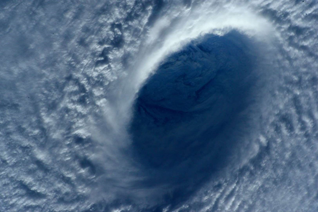 This image taken on 31 March 2015 shows Typhoon Maysak taken by astronaut Samantha Cristoforetti from the International Space Station. The Pacific Daily News newspaper in Guam reports the storm was upgraded Tuesday to a super typhoon with winds of 150 mph and was moving west-northwest at 15 mph. Officials say super Typhoon Maysak is expected to significantly weaken before reaching the Philippines around Sunday. Photo: Samantha Cristoforetti / NASA / AP Photo