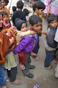 Delhi Camp Children Waiting