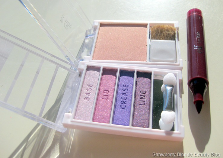 elf flawless eyeshadow, glow blush, lip stain