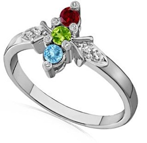 Diamond Accent Three Stone Ring With Aquamarine, Peridot, Garnet in 14k White Gold