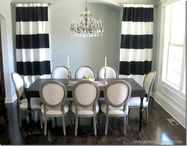 Life love larson diy no sew black white striped curtains for Dining room no windows