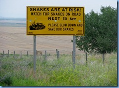 1805 Alberta Hwy 500 South - Watch For Snakes On Road sign