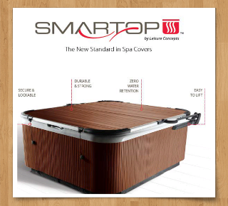 Leisure Concepts has introduced a spa cover built like no other. A cover lifter is included!!! If your Spa cover has water logged cores and weighs a ton than this cover is for you. Most foam core covers either break from snow loads or they become water logged and very heavy. The smart top is your top of the line Spa cover. No more water logged cores no more damage from snow and with the included cover lifter it's a breeze to open. For more information or a catalog email spaandpooltechs@gmail.com