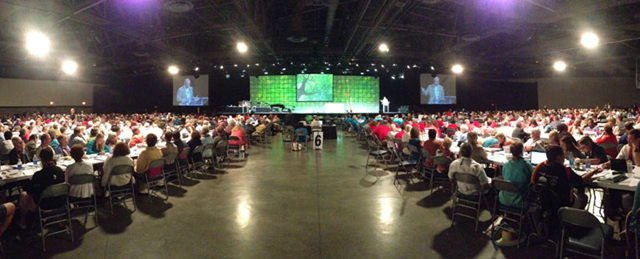 The United Church of Christ's General Synod at the Long Beach Convention Center, 1 July 2013. UCC became the first U.S. religious body to vote to divest its pension funds and investments from fossil fuel companies because of climate change concerns. Photo: UCC
