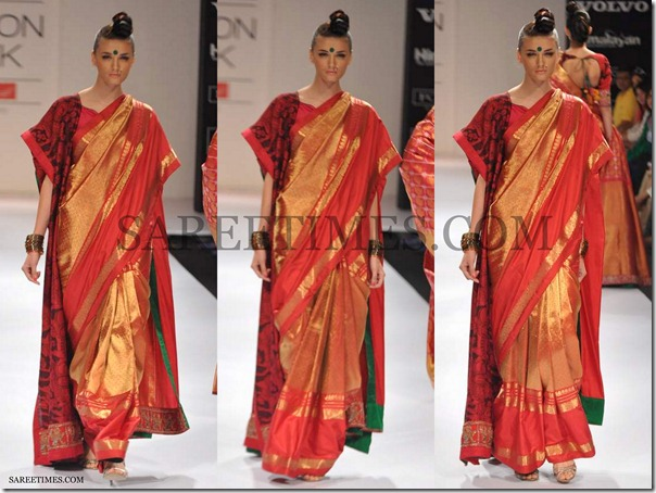 Gaurang_Shah_Red_Gold_Silk_Saree