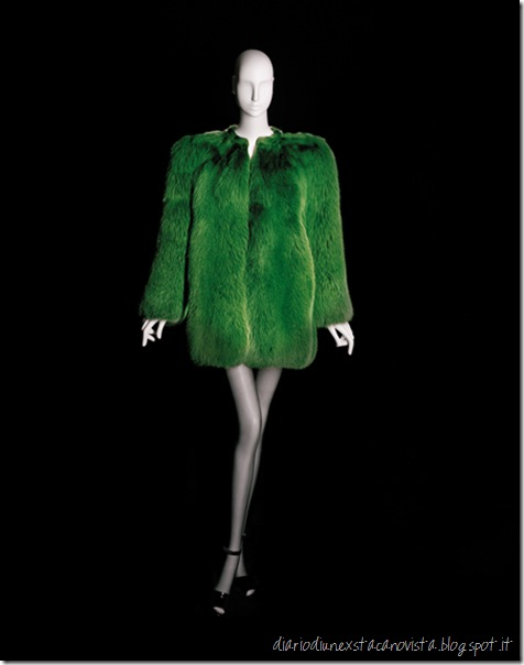 Yves Saint Laurent, Short evening coat, haute couture collection, Spring-Summer 1971. Green fox fur