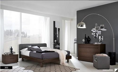 diseños de dormitorios modernos con paredes oscuras