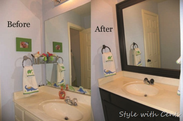 Framing A Bathroom Mirror Before And After style with cents}: $20 bathroom refurb